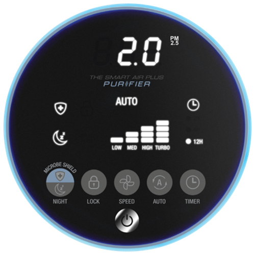 The Smart Air Plus™ Purifier Air Purifier in White Micron Particles Monitor