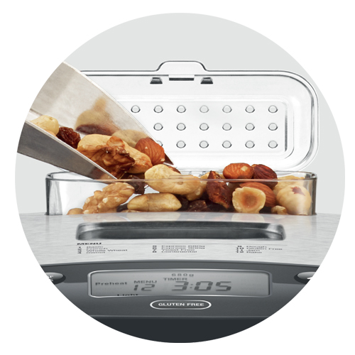 the Bread baker in Brushed stainless steel with automatic fruit and nut dispenser