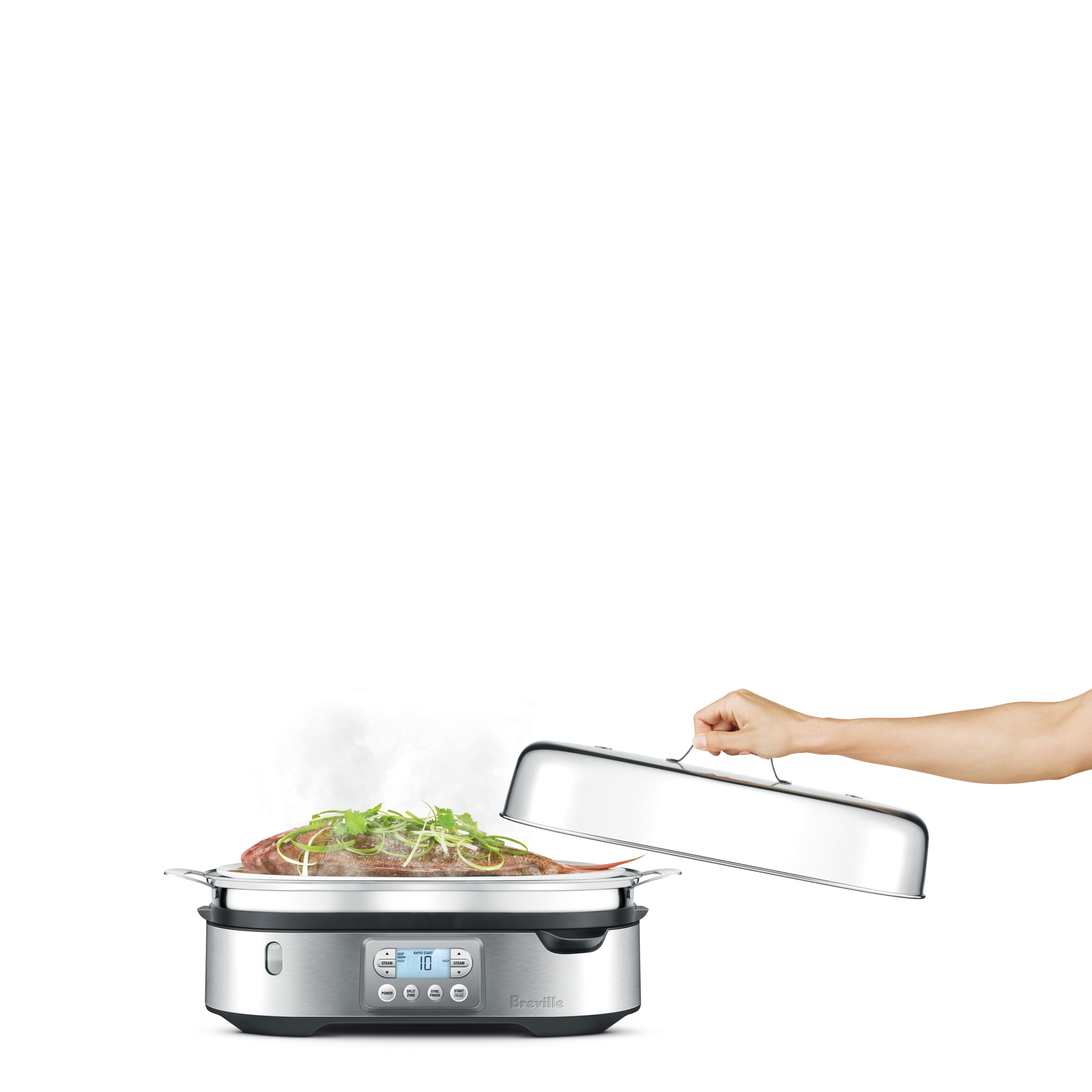 The Steam Zone™ Cooker In Brushed Stainless Steel with food