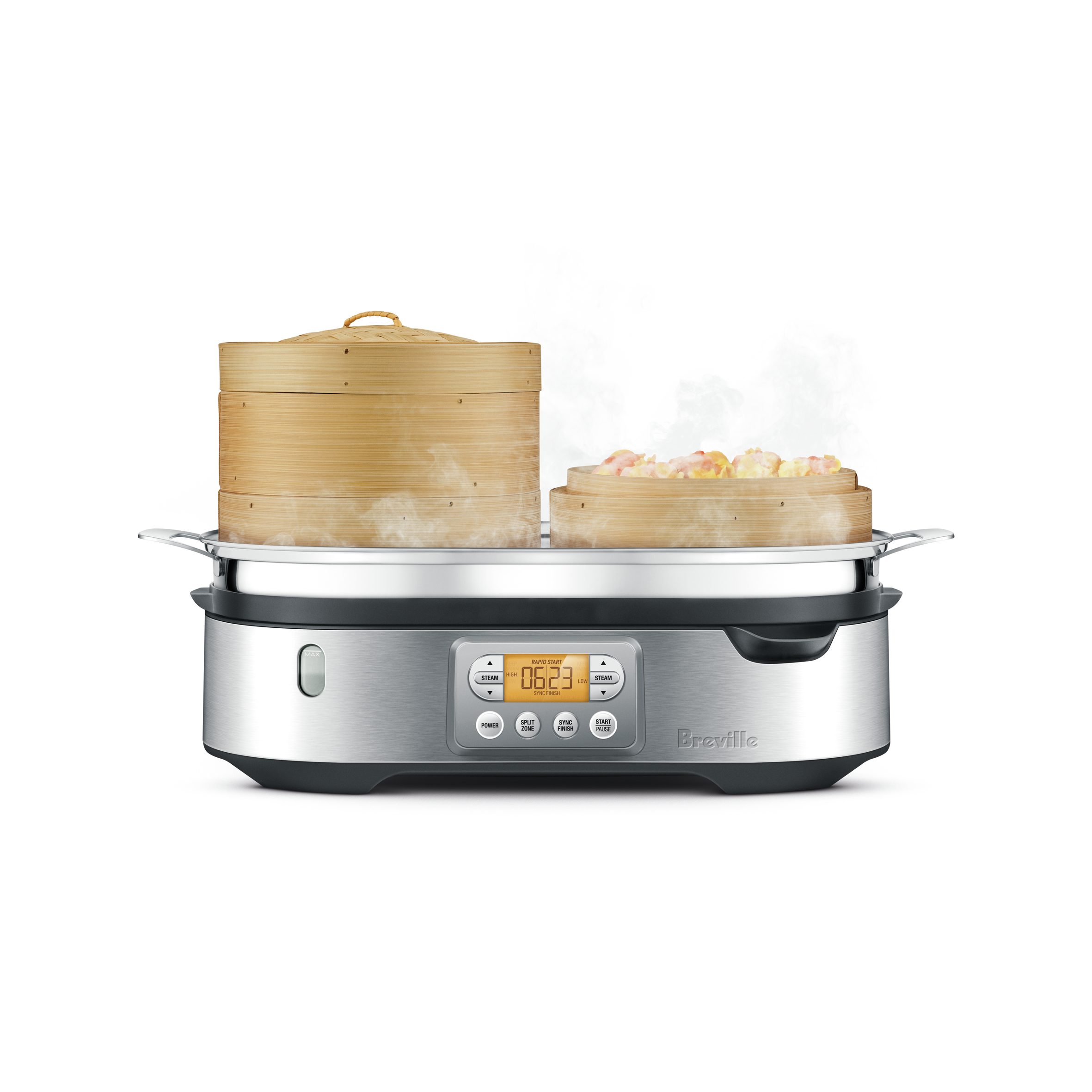 The Steam Zone™ Cooker In Brushed Stainless Steel with bamboo baskets
