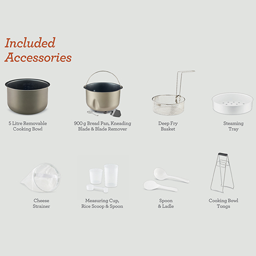 the Multi Cooker 9 in 1 in Grey with all inclusive accessories