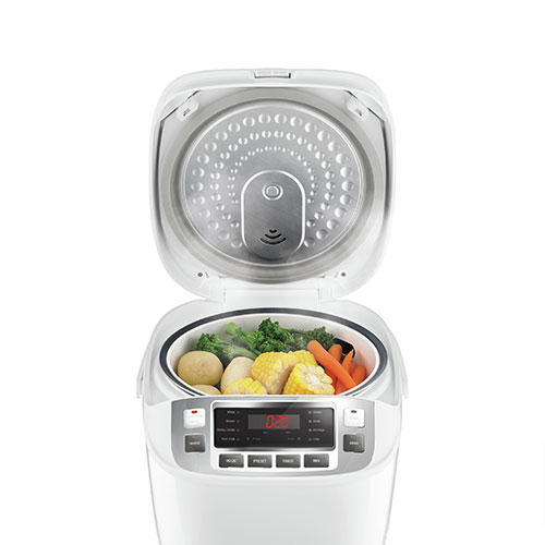 the Smart Rice Box™ cooker In White combination functions