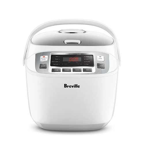 the Smart Rice Box™ cooker In White digital timer