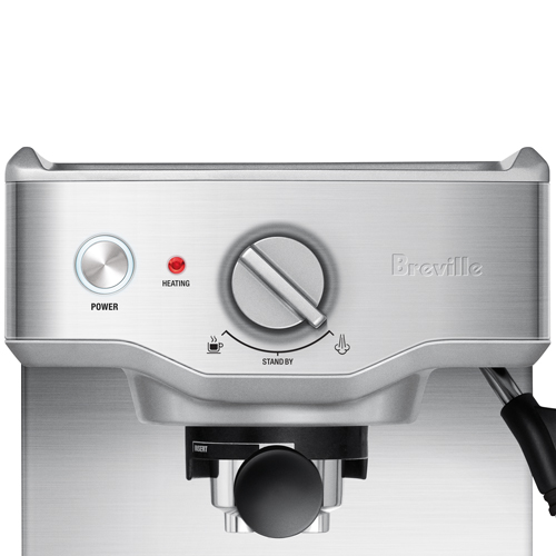 the Compact Cafe Espresso Machine in Brushed Stainless Steel warming tray