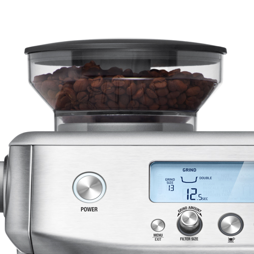 the Barista Pro Espresso Machine in Brushed Stainless Steel integrated conical burr grinder