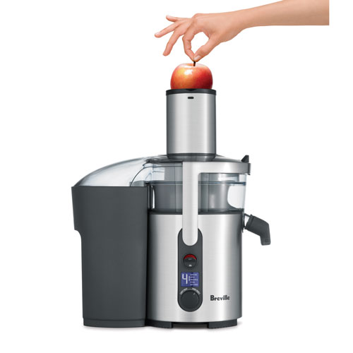 the Froojie® Fountain Juicer In Brushed Stainless Steel wide chute
