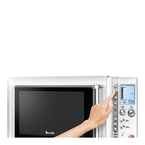 the Quick Touch™ Compact Microwaves In Brushed Stainless Steel shortcuts panel