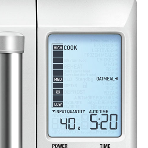 the Quick Touch™ Compact Microwaves In Brushed Stainless Steel kitchen timer