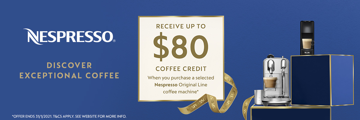 80 dollars cash back when you purchase any Nespresso Vertuo coffee machine.