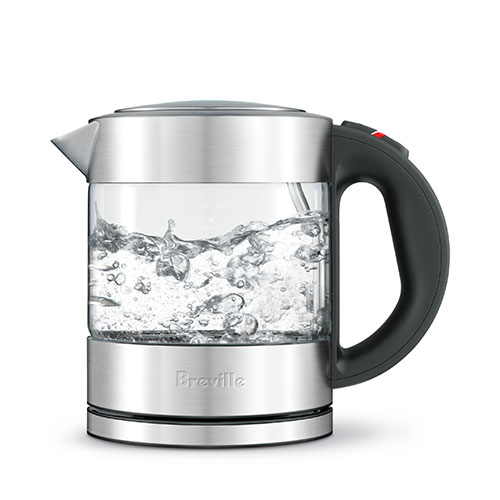 the Compact Kettle™ Clear Tea in Silver modern glass kettle