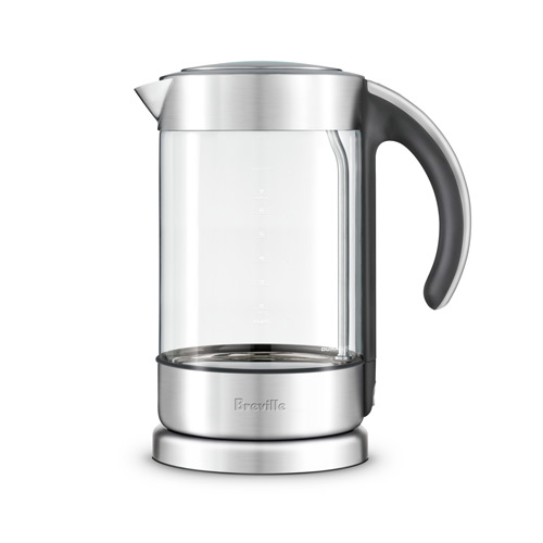 the Crystal Clear in glass kettle with brushed stainless steel