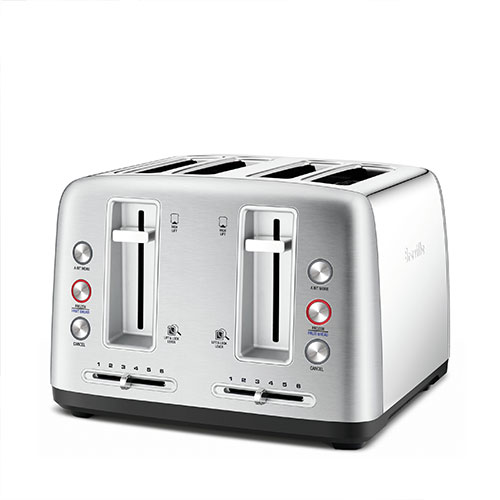the Toast Control™ 4 Toasters in Brushed Stainless Steel wide and deep self centering slots