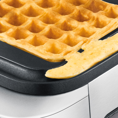 the Smart Waffle® Waffle Makers in Brushed Stainless Steel no mess moat