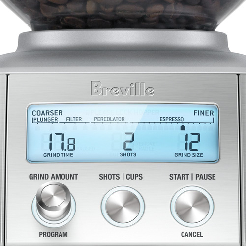 the Smart Grinder™ Pro Coffee In Brushed Stainless Steel LCD display