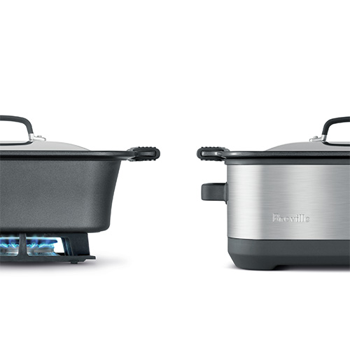 the Slow Cooker with EasySear™ Cookers In Brushed Stainless Steel one pot cooking