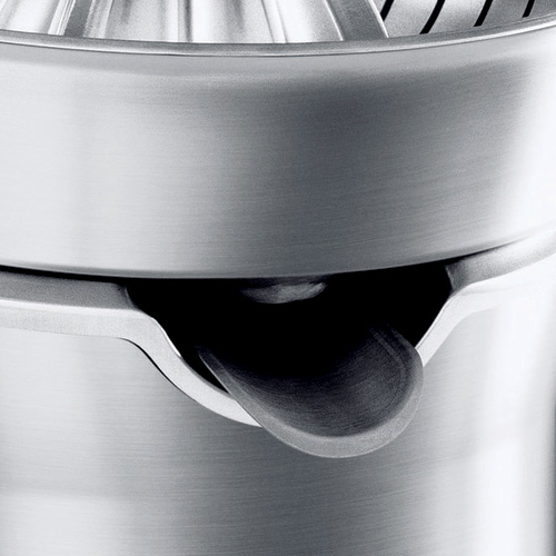 the Citrus Press™ Pro Juicers in Brushed Stainless Steel drip stop juice spout
