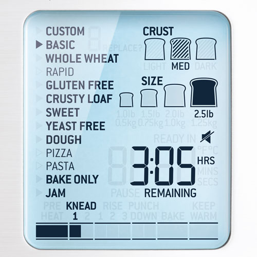 the Custom Loaf™ Pro Oven Machine in Brushed Stainless Steel smart lcd display