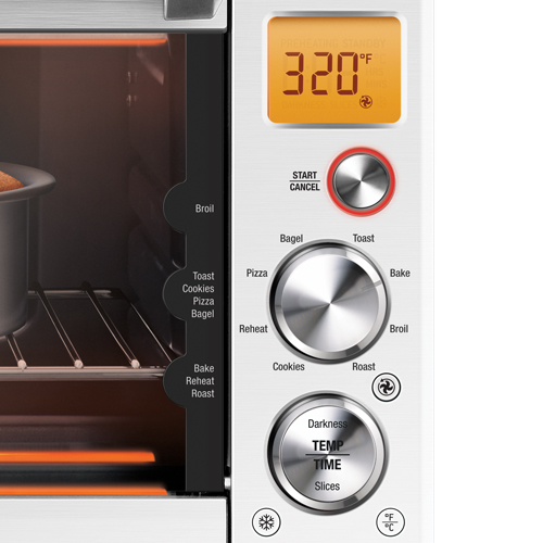 the Smart Oven® Compact Convection Oven in Brushed Stainless Steel backlit LCD