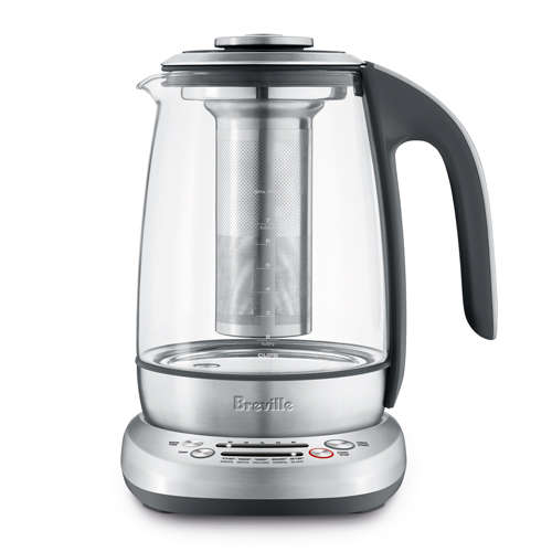 the Breville Smart Tea Infuser® Brushed Stainless Steel with Glass Kettle hot water boiler