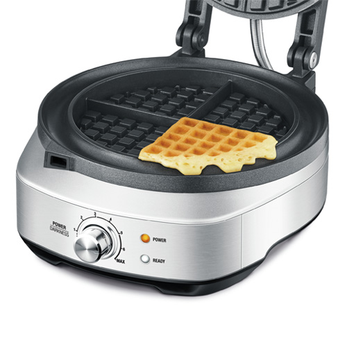 the No-mess Waffle™ waffle makers in brushed stainless steel ready light