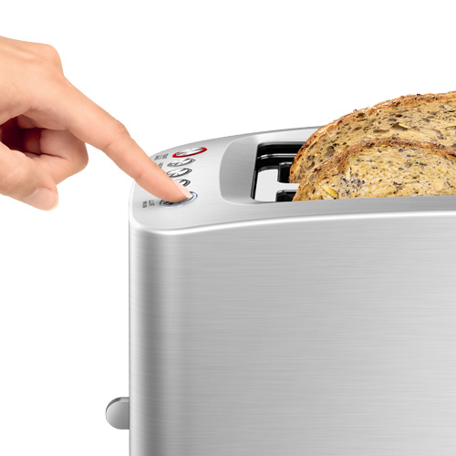 the Smart Toast® 4 Slice Long Slot Toaster In Silver 1 touch lowering