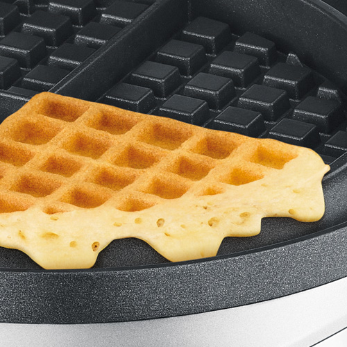 the No-mess Waffle™ waffle makers in brushed stainless steel no mess moat