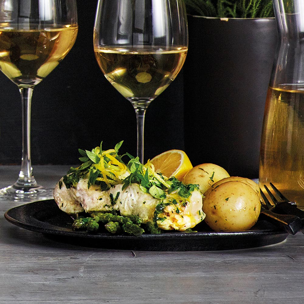 the Wave Range recipes - white fish with garlic herb potatoes