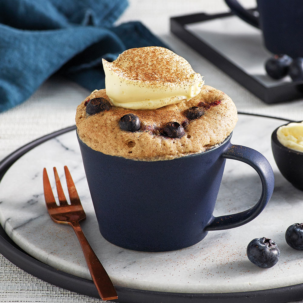 the Wave Range recipes - vanilla blueberry mug cake with cream cheese icing