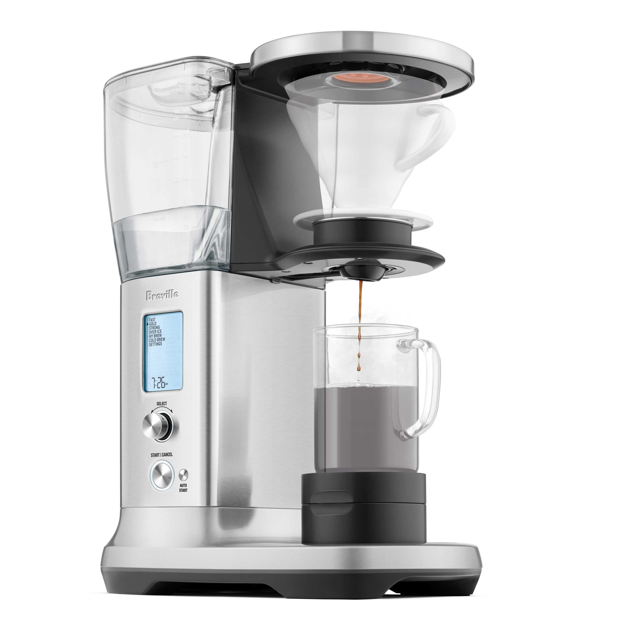 the Breville Precision Brewer® Thermal Coffee in Brushed Stainless Steel side view