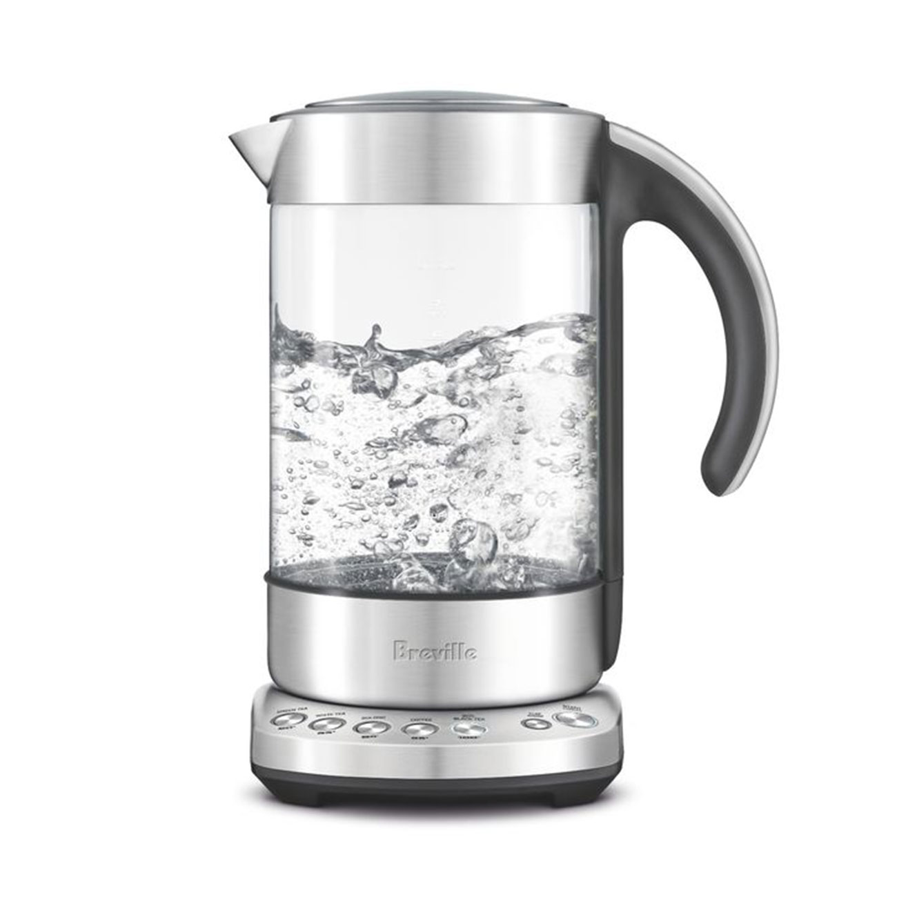 the Smart Kettle clear in brushed stainless steel boiling water