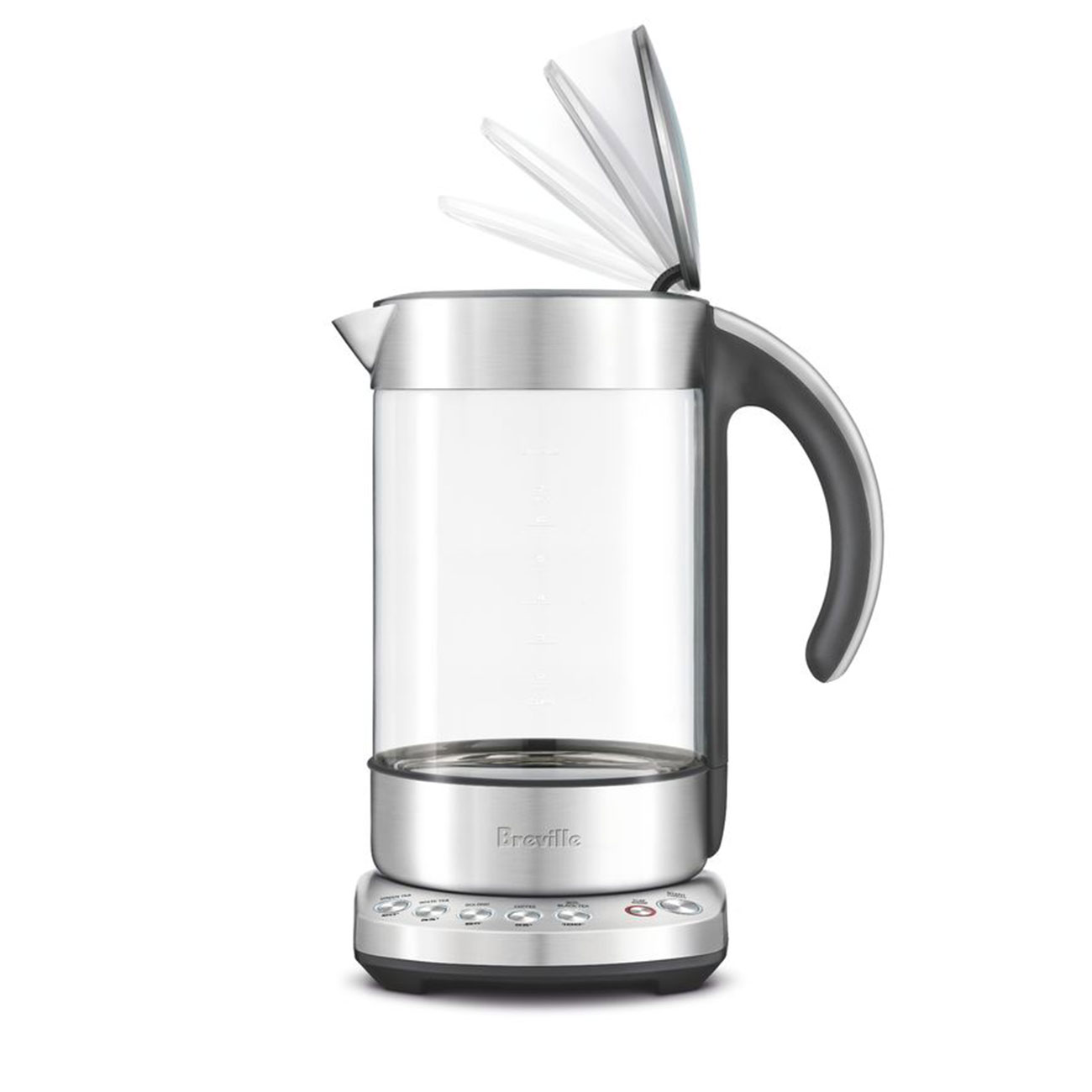 the Smart Kettle clear in brushed stainless steel open lid