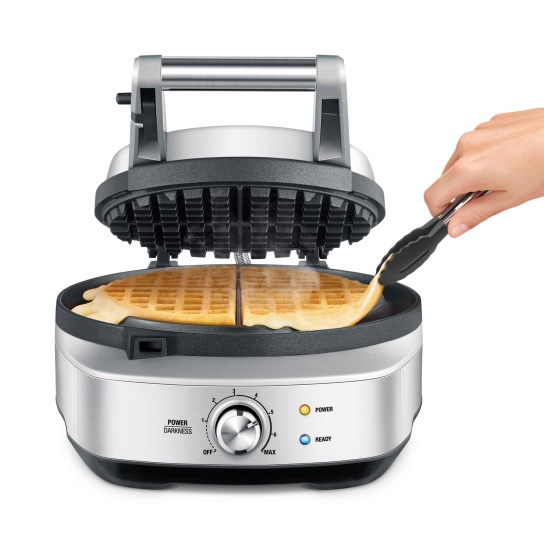 the No-mess Waffle™ Waffle Makers in Brushed Stainless Steel browning control