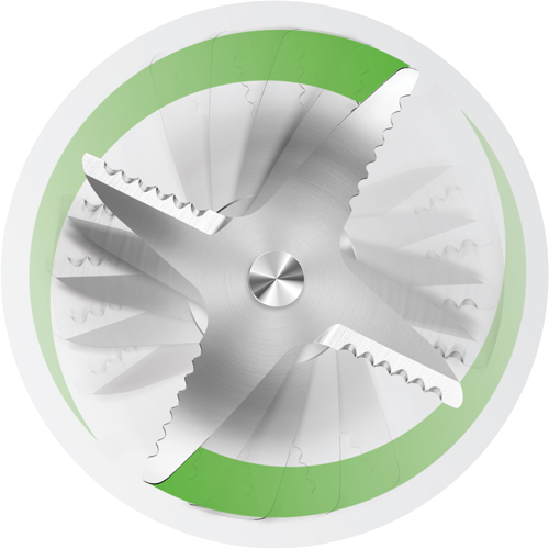 Close up of 4 rotating blades with teeth.