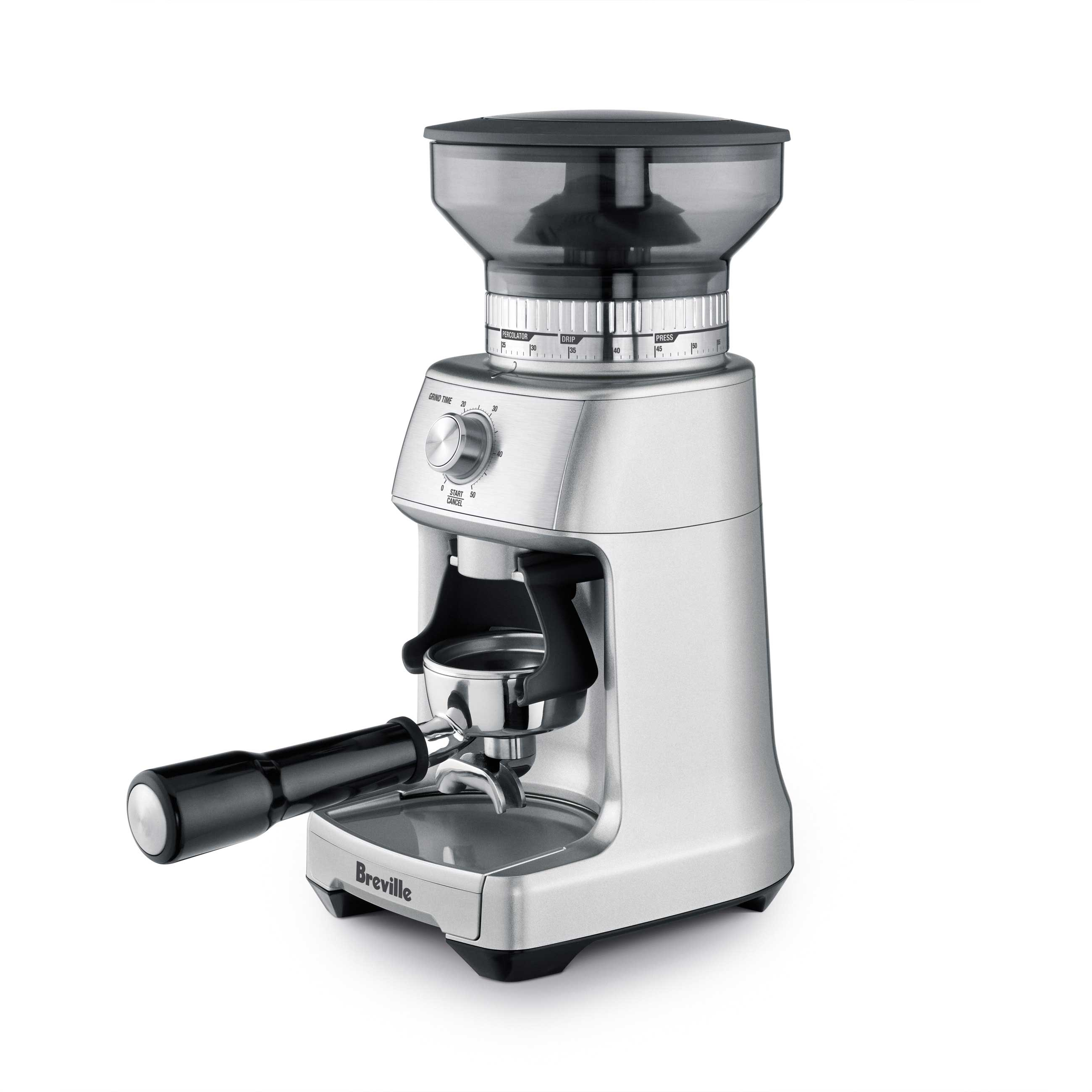 the Dose Control Pro Coffee Grinder in Brushed Stainless Steel side view