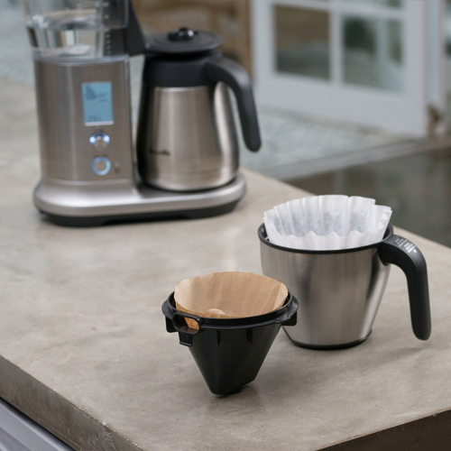 the Breville Precision Brewer® Thermal Coffee in Brushed Stainless Steel dual filter baskets