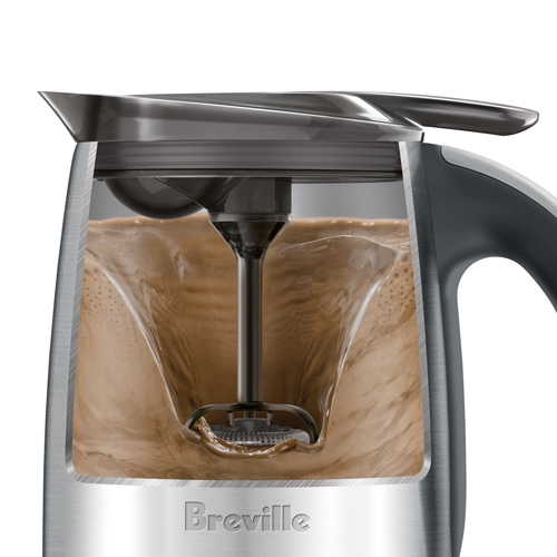 the Hot Choc & Froth Milk Frothing Machine in Brushed Stainless Steel magnetic whisk operation