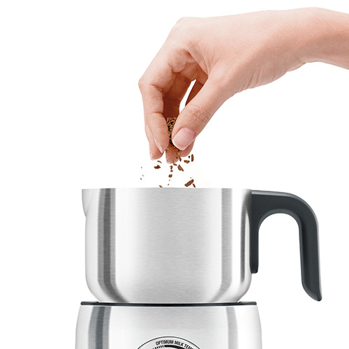 the Milk Cafe Milk Frother Machine in Brushed Stainless Steel with induction heating