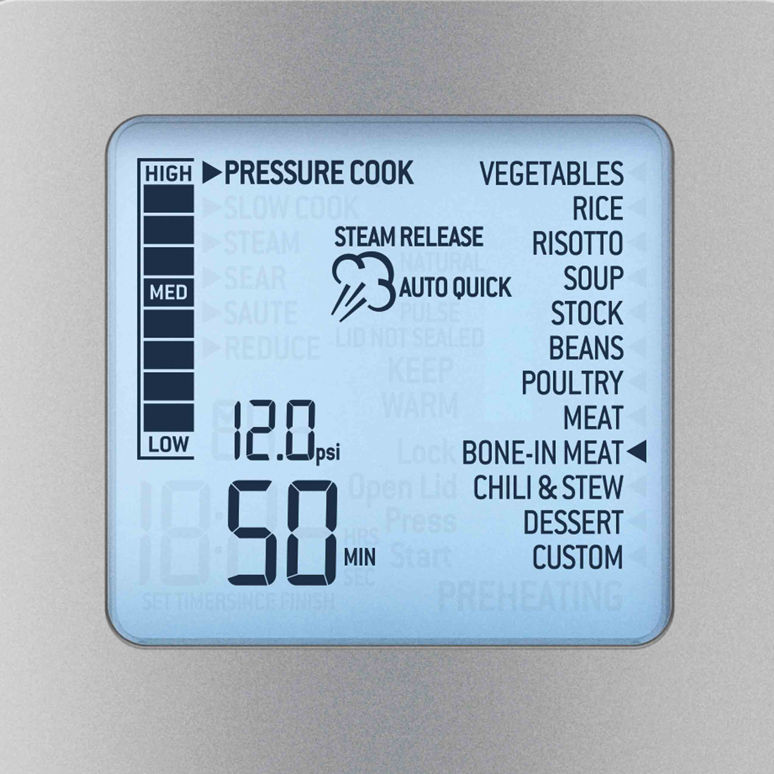 the Fast Slow Pro Pressure and Slow cooker in Brushed Stainless Steel LCD screen