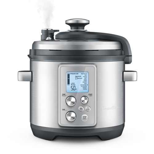 the Fast Slow Pro Pressure and Slow cooker in Brushed Stainless Steel with triple safe lid construction