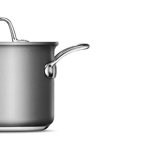 Thermal Pro Hard Anodized Covered 4qt Saucepot in Hard Anodized Aluminium has an ergonomic design