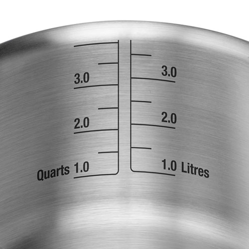 Thermal Pro Clad Stainless Steel Covered 3qt Saucepan in Polished Stainless Steel with Laser-Etched volume indicators