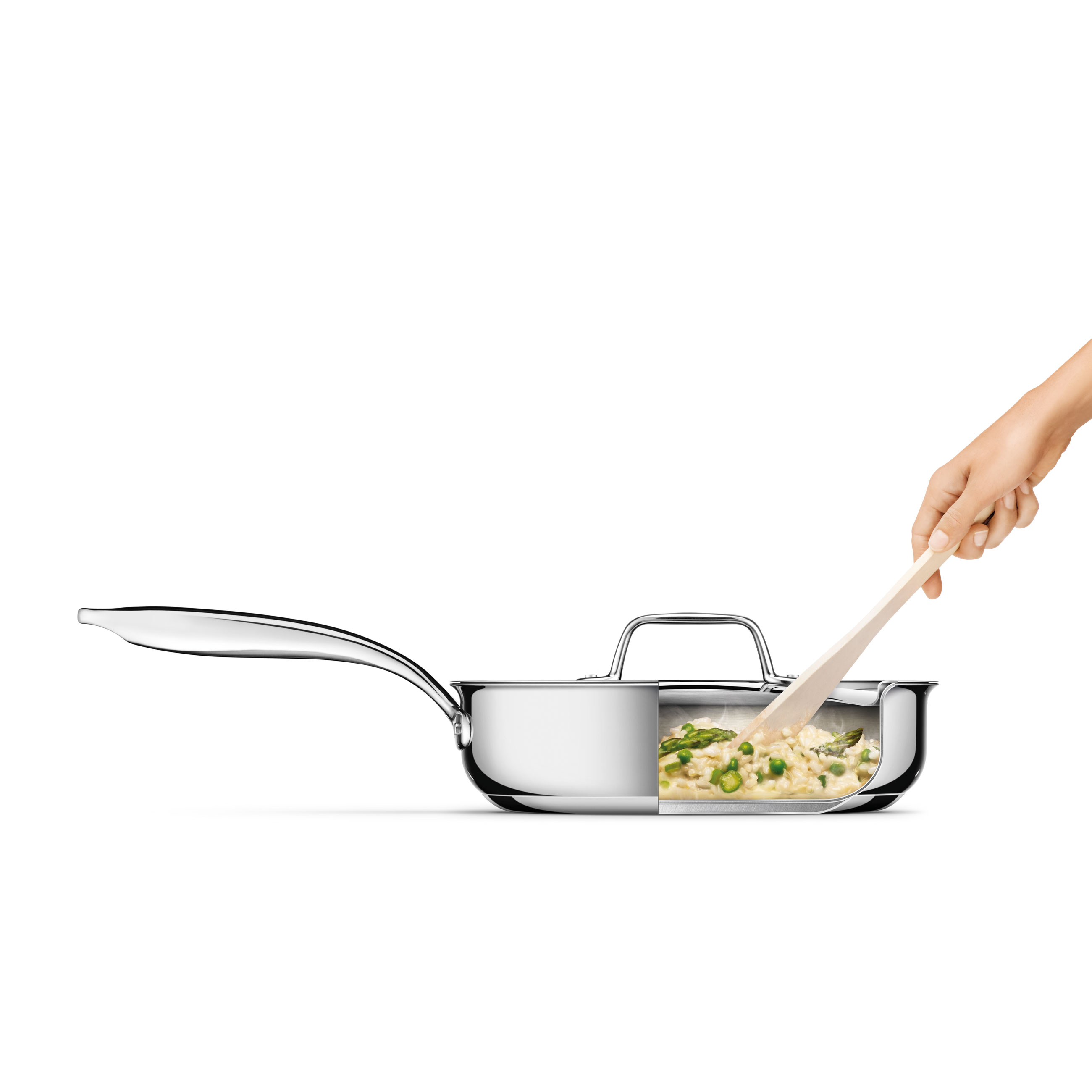 Thermal Pro Clad Stainless Steel Covered 305qt Saute Pan in Polished Stainless Steel with ergonomic handle