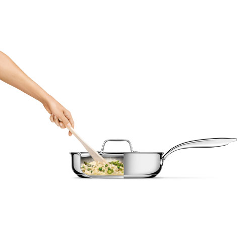 Thermal Pro Clad Stainless Steel Covered 305qt Saute Pan in Polished Stainless Steel with tri-ply clad construction