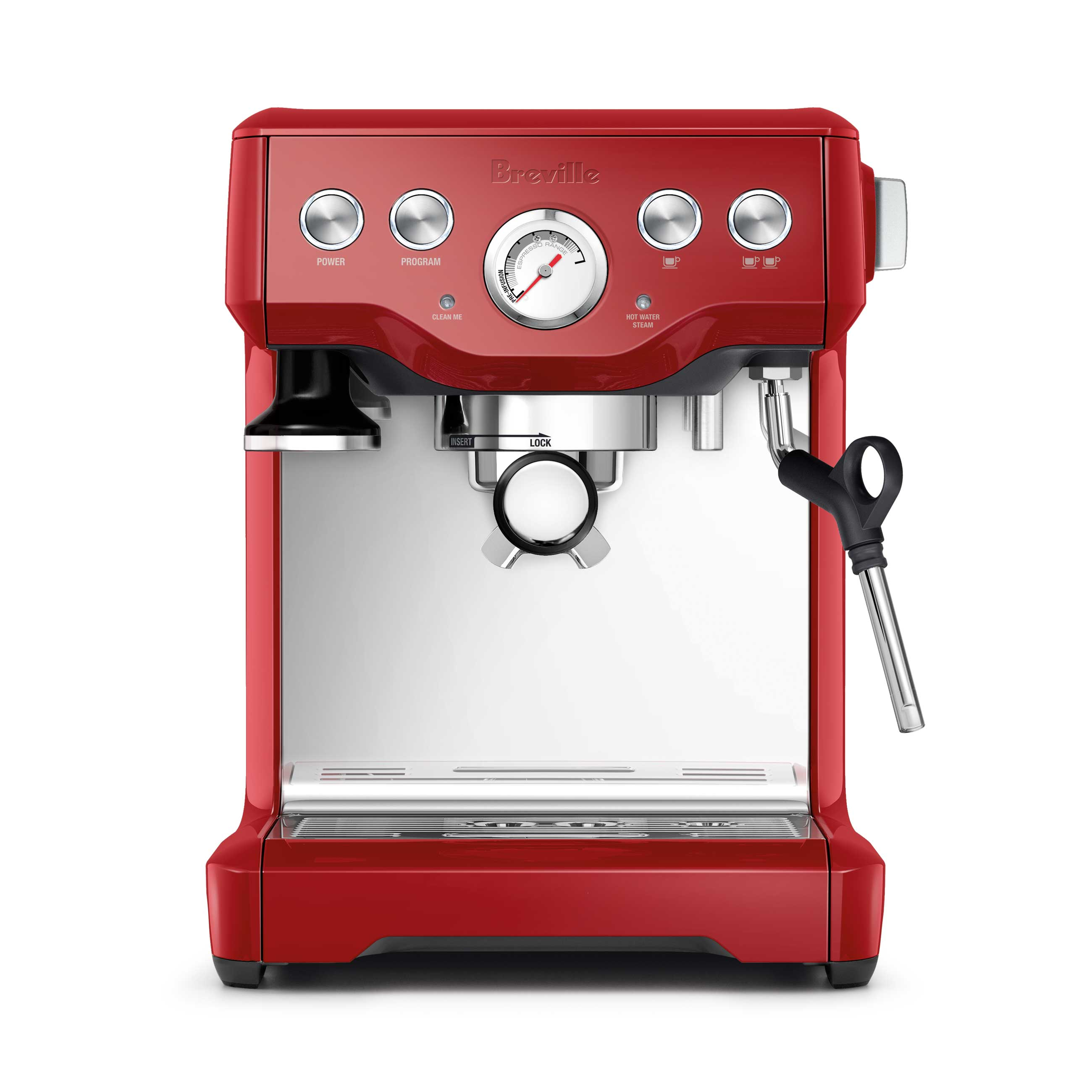the Infuser Espresso Machine in Cranberry Red