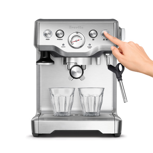 the Infuser Espresso Machine in Brushed Stainless Steel volumetric control