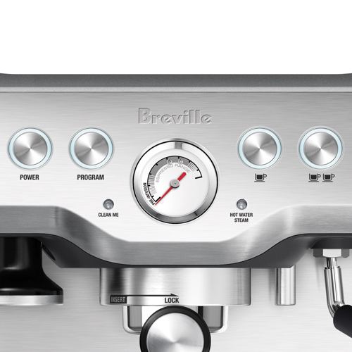 the Infuser Espresso Machine in Brushed Stainless Steel flexible shot control