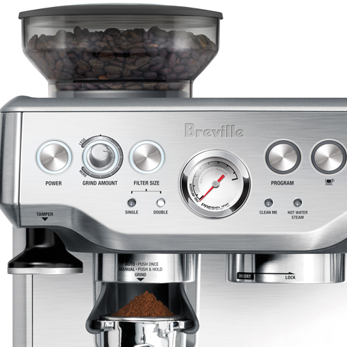 the Barista Express Espresso Machine in Brushed Stainless Steel dose-control grinding