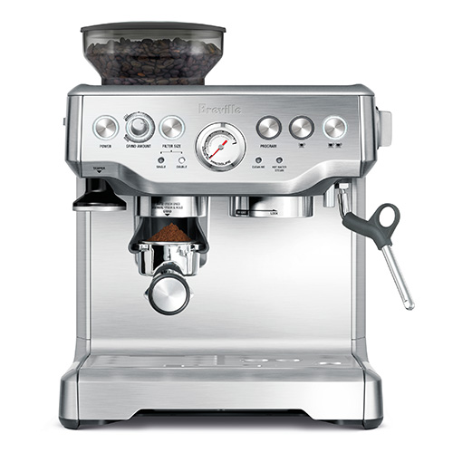 the Barista Express Espresso Machine in Brushed Stainless Steel hands-free operation