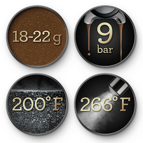 Close up of the integrated conical burr grinder.