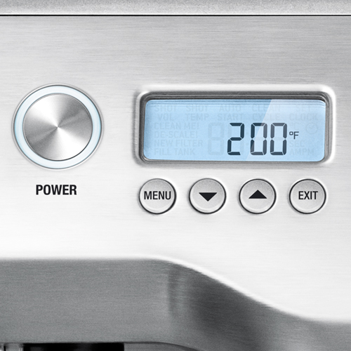 the Dual Boiler™ Espresso in Brushed Stainless Steel lcd display